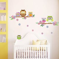 Walplus Kids Decoratie Sticker - Uil Bloem Boom