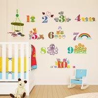 Walplus Kids Decoratie Sticker - Cijfers met Dieren