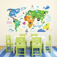 Walplus Kids Decoration Sticker - Childrens World Map