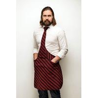 Tie & Apron Stropdas Schort Chef Zwart-Bordeaux Gestreept