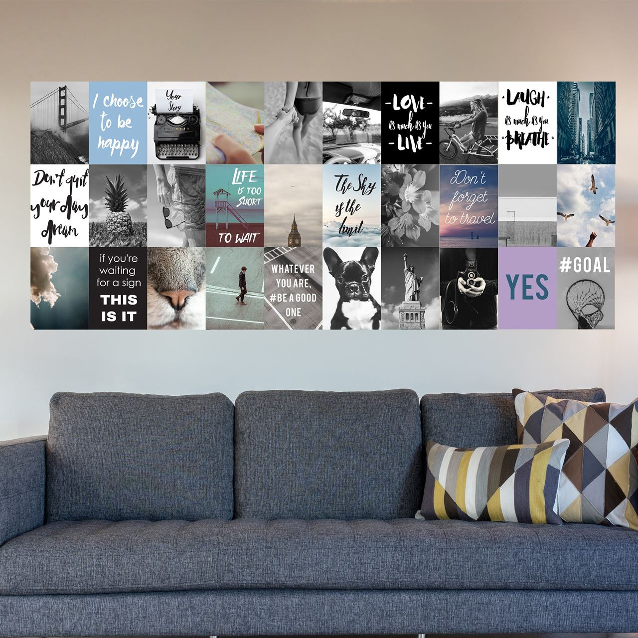Channeldistribution walplus muur decoratie sticker foto en quote collage - Verwijderbare decoratieve muur ...