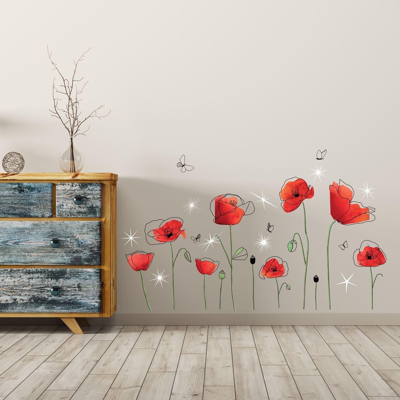 Channeldistribution walplus home decoratie sticker klaprozen met 9 swarovski kristallen - Home decoratie met tomettes ...