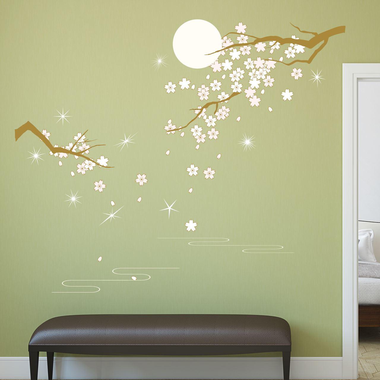 Channeldistribution walplus home decoratie sticker lichtroze bloesem in maanlicht met 9 - Home decoratie met tomettes ...