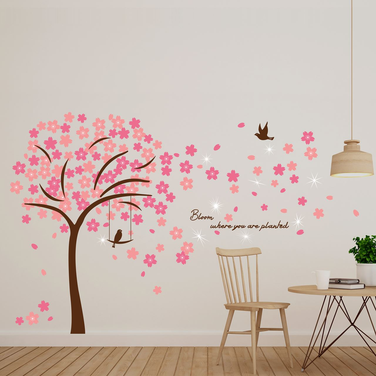 Channeldistribution walplus home decoratie sticker roze bloesem met 9 swarovski kristallen - Home decoratie met tomettes ...