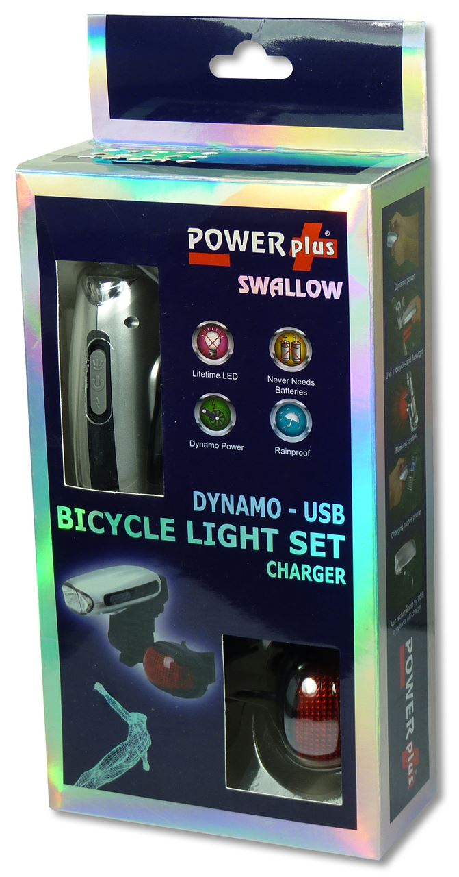 powerplus swallow dynamo led fiets verlichting zaklamp en lader