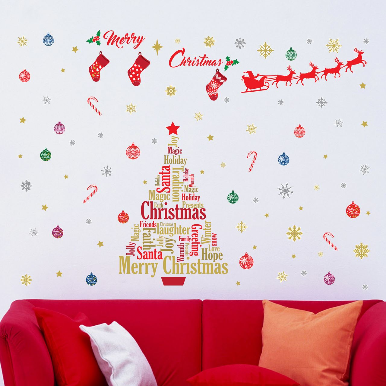 walplus home decoration sticker english quotes christmas decoration set