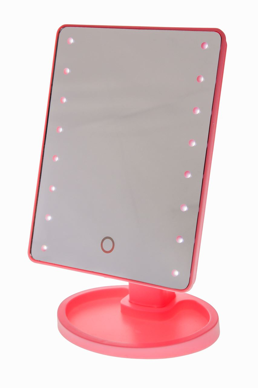 channel distribution gifts en gadgets touch screen make up spiegel met led verlichting roze. Black Bedroom Furniture Sets. Home Design Ideas