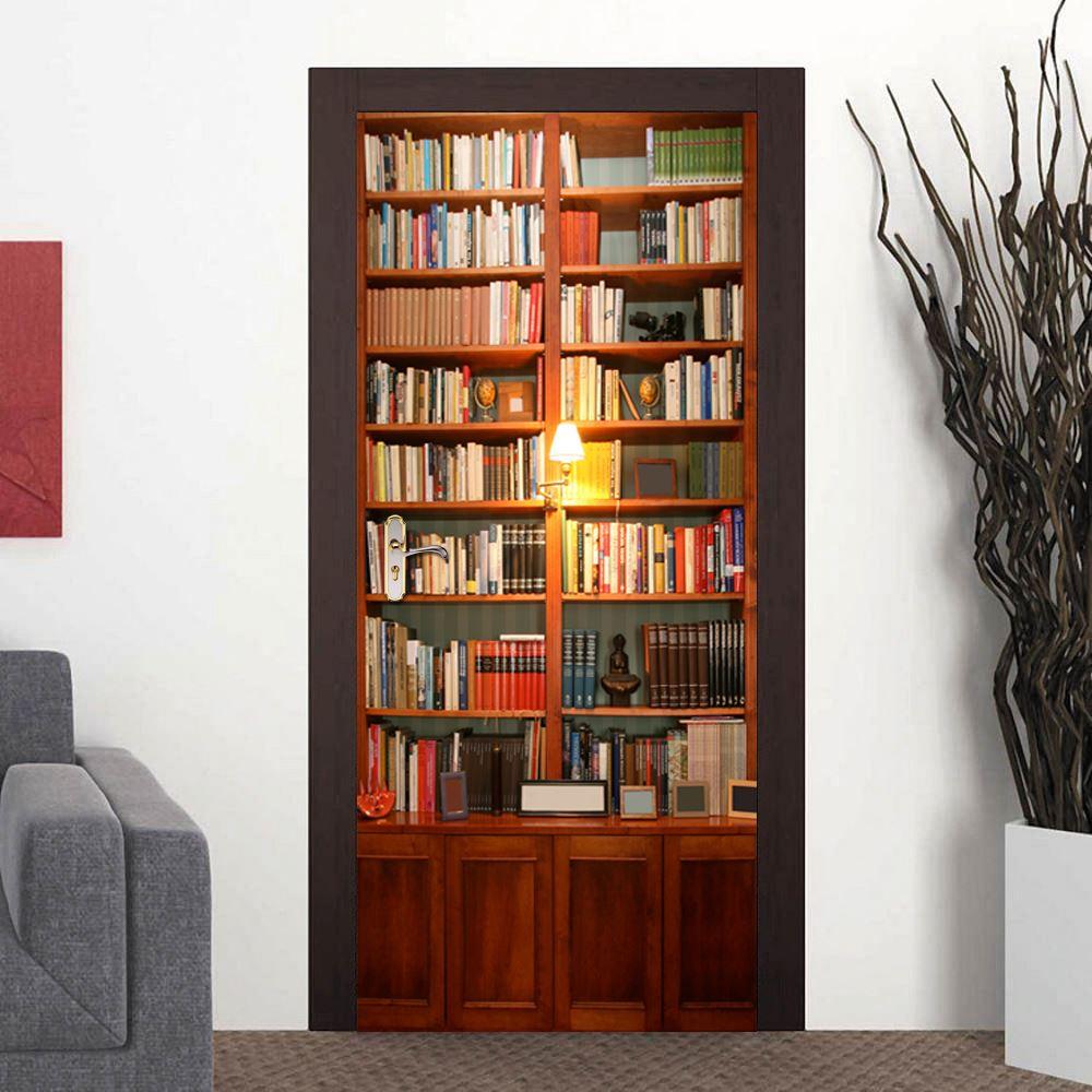 walplus deur decoratie sticker vintage boekenkast