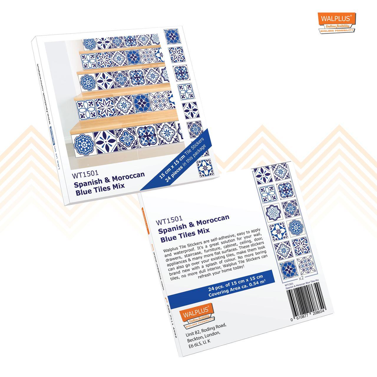 Walplus spanish and moroccan mosaic wall sticker stair sticker blue 15x15 cm 24 pieces