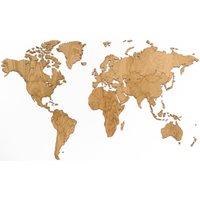 MiMi Innovations Exclusieve Houten Wereldkaart - Muurdecoratie - 130x78 cm - Eiken