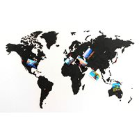 MiMi Innovations Luxe Houten Wereldkaart - True Puzzel - 100x60 cm - Zwart