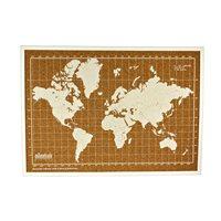 Milimetrado - Wereldkaart Prikbord - Kurk met Houten Frame - Wit/Wit - 70x50 cm